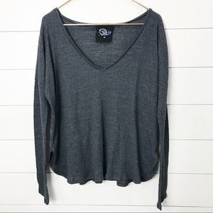 Planet Blue Life Ribbed Gray Long Sleeve Thermal